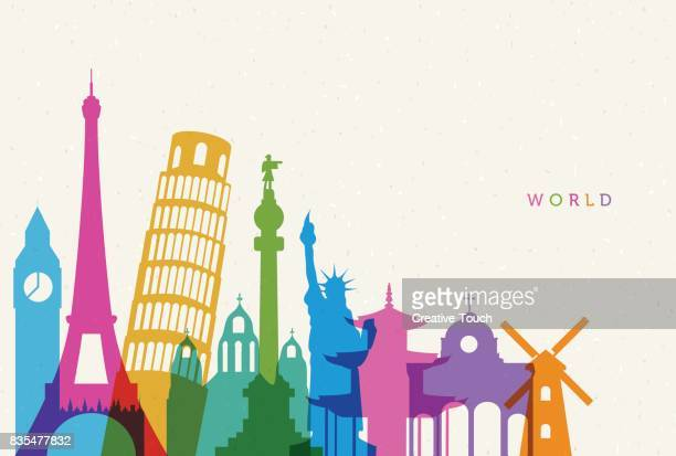 world - tourist attraction stock illustrations