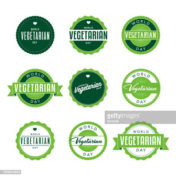 World Vegetarian Day Labels Icon Set