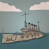 World war 2 US BattleCruiser. Hand drawn vector illustration.
