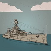 World war 2 US Battleship. Hand drawn vector illustration.