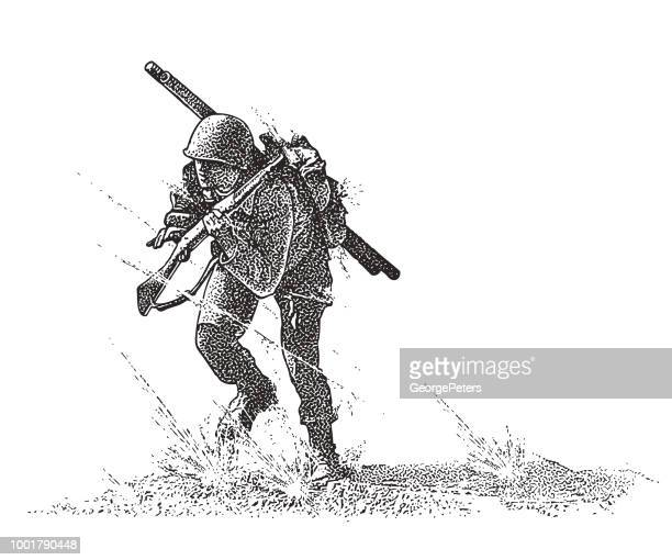 world war ii combat soldier attacking omaha beach carrying bangalore torpedo - world war ii stock illustrations
