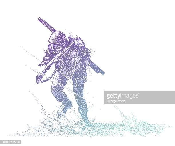 world war ii combat soldier attacking omaha beach carrying bangalore torpedo - d day stock illustrations