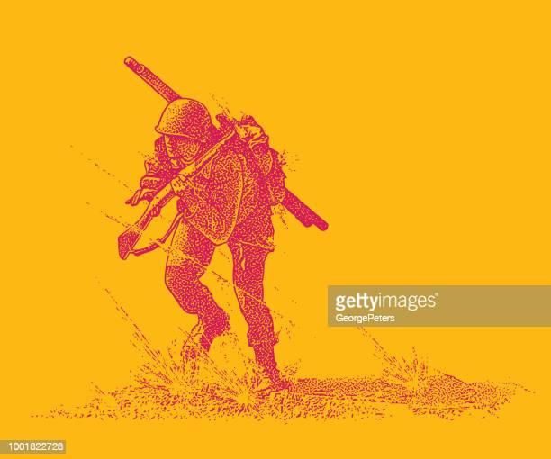 Dem zweiten Weltkrieg bekämpfen Soldat Angriff auf Omaha Beach tragen Bangalore Torpedo