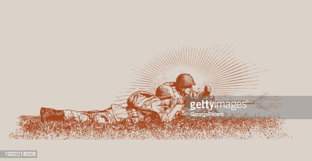 world war ii combat soldier on d-day. m1919 browning machine gun - pacific war stock illustrations