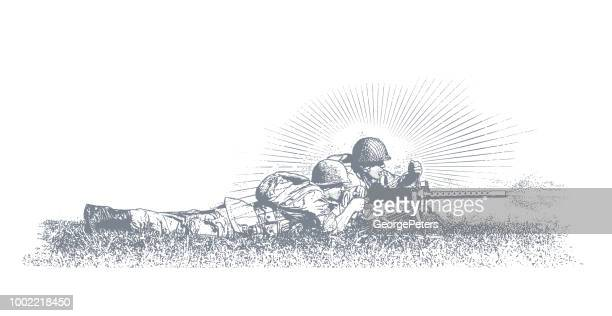world war ii combat soldier on d-day. m1919 browning machine gun - d day stock illustrations
