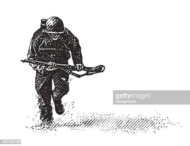 world war ii combat soldier on d-day - military personnel stock illustrations, clip art, cartoons, & icons