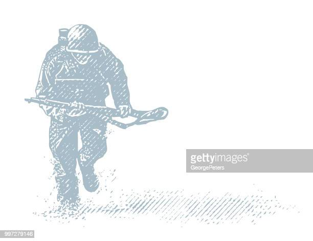 world war ii combat soldier on d-day - d day stock illustrations