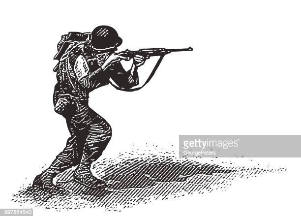 world war ii combat soldier on d-day - world war ii stock illustrations