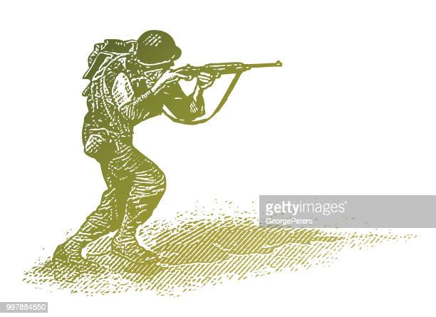world war ii combat soldier on d-day - obscured face stock illustrations, clip art, cartoons, & icons