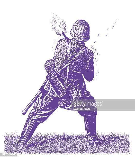 world war ii german soldier shooting machine gun - omaha beach stock illustrations