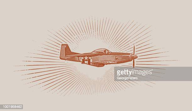 world war ii p 51 mustang airplane. - d day stock illustrations