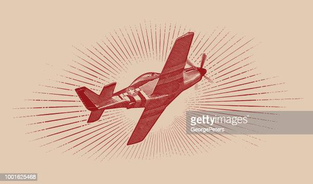 world war ii p-51 mustang airplane. - world war ii stock illustrations