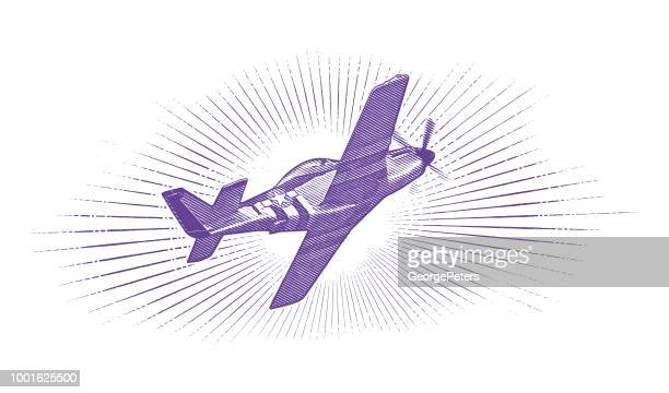 world war ii p-51 mustang airplane. - us navy stock illustrations, clip art, cartoons, & icons