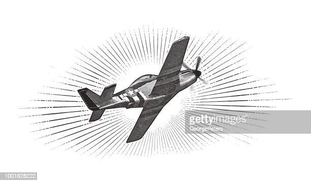 world war ii p-51 mustang airplane. - d day stock illustrations