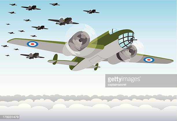 world war two bomber squadron - world war ii stock illustrations