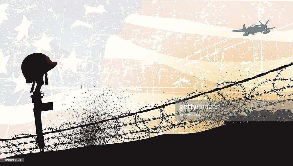 World War Two - Fallen Soldier and American Flag Background : Stock Illustration