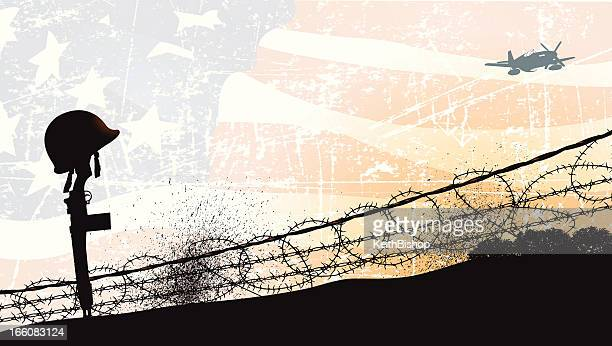 world war two - fallen soldier and american flag background - world war ii stock illustrations