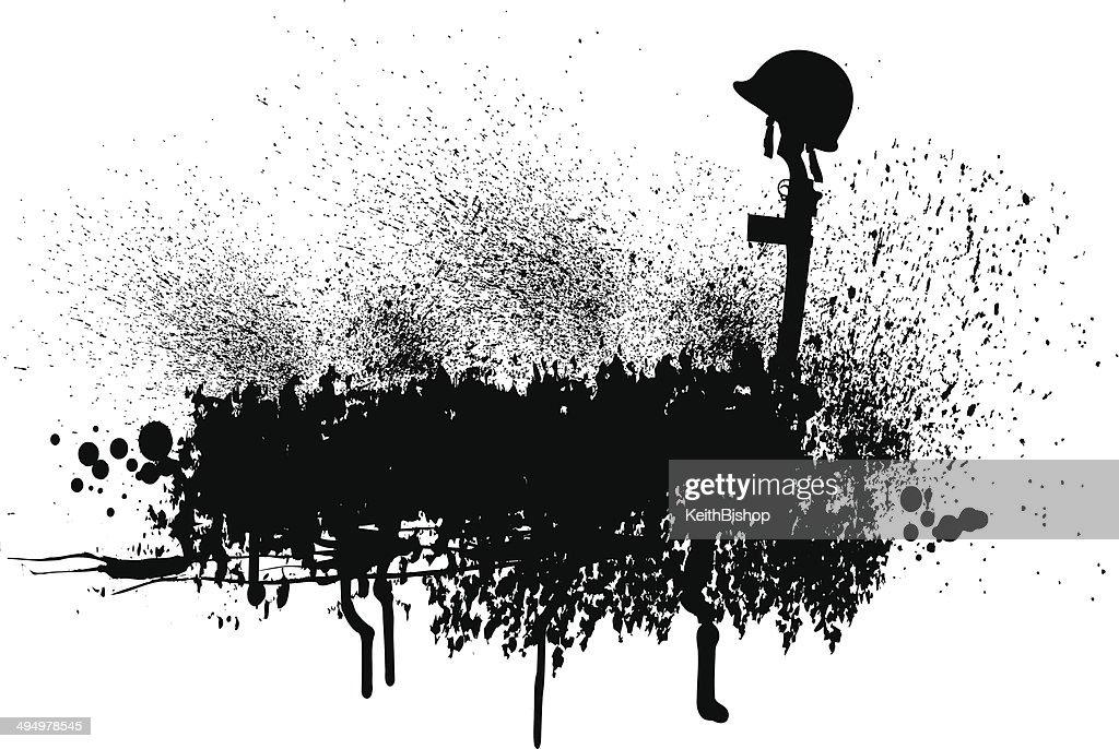 World War Two Fallen Soldier Grunge Graphic