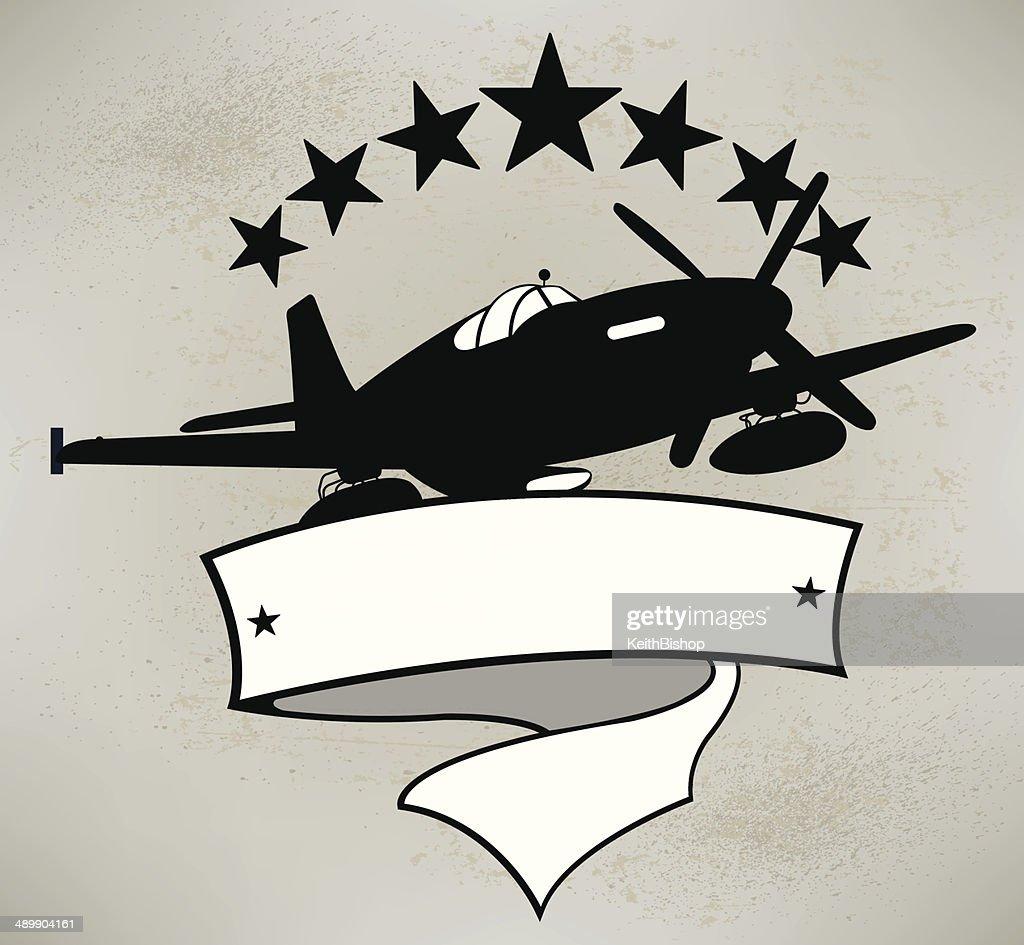 World War Two Fighter Plane Banner Background