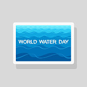 World Water Day greeting card with stylized waves on blue background