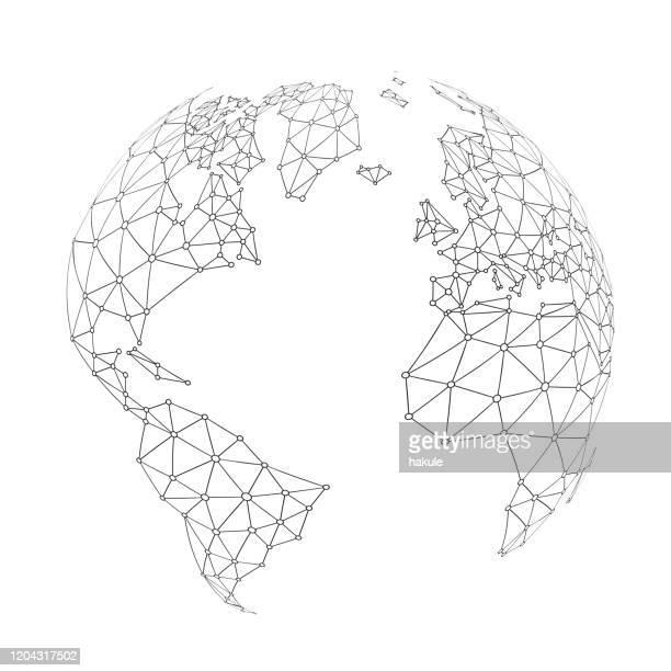 illustrazioni stock, clip art, cartoni animati e icone di tendenza di world wide internet network mesh. social communications background. earth map - motivo a griglia