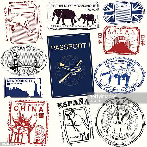 world wide travel stamps - giza stock illustrations