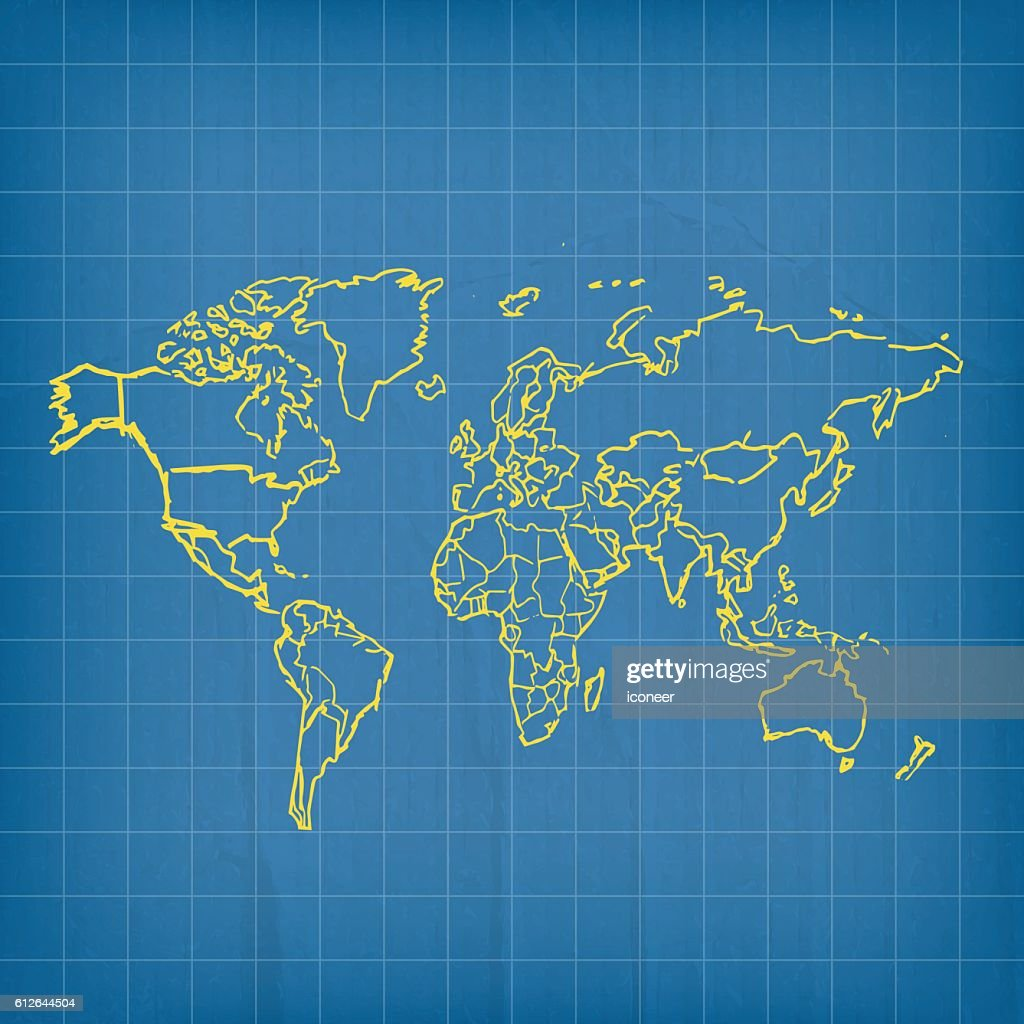 world yellow map scribbled on blueprint cardboard background vector