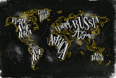Worldmap vintage chalk yellow