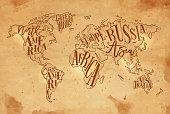 Worldmap vintage craft