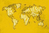 Worldmap vintage yellow