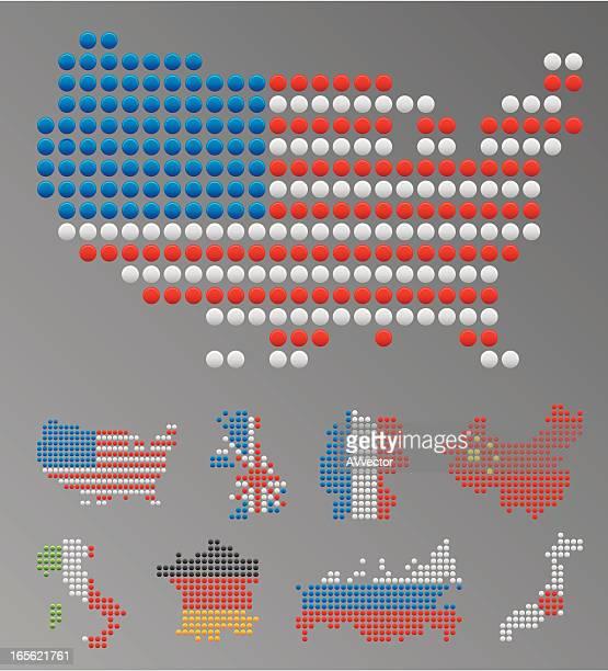 世界の主要国マップ