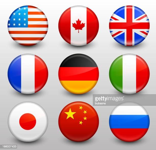 worldwide flagge knopf pins kollektion - russische flagge stock-grafiken, -clipart, -cartoons und -symbole