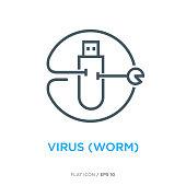Worm virus line flat icon ver 1