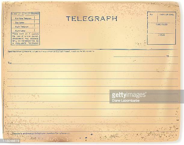 worn and tattered vintage antique telegram on parchment grunge paper - telegram stock illustrations