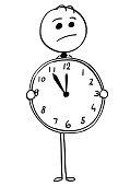 Worried Businessman Holding Large Watch Clock