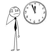 Worried Businessman Looking at Wall Clock