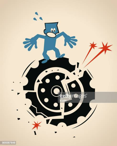 worried businessman standing on a big damaged gear - broken stock illustrations, clip art, cartoons, & icons
