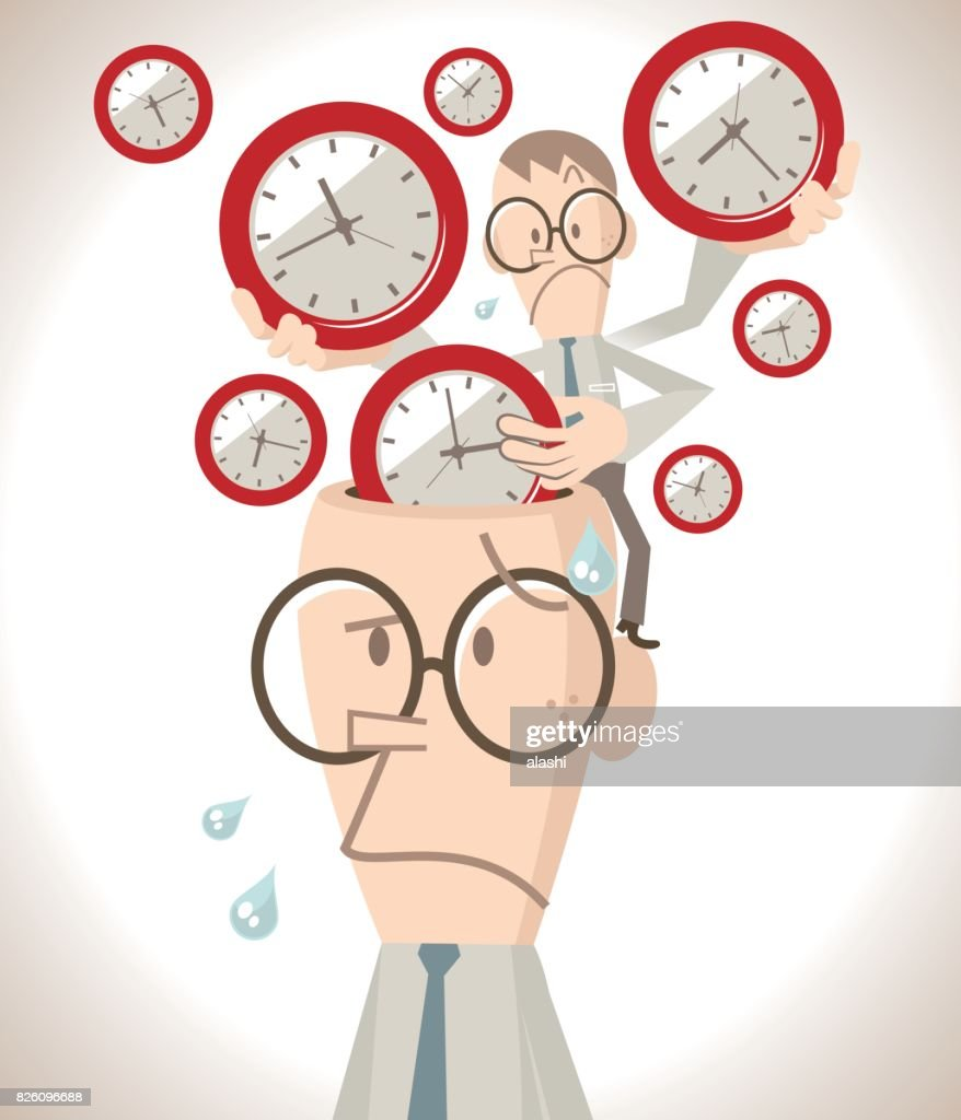 Worried businessman with open head, a little business man putting lots of time clocks into the brain, time pressure and management concept : stock illustration