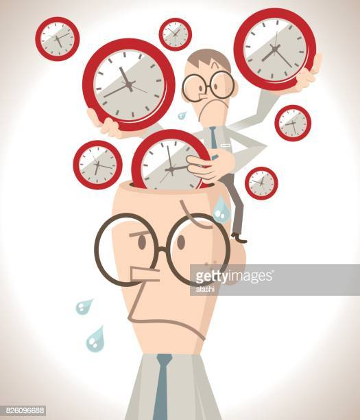 Worried businessman with open head, a little business man putting lots of time clocks into the brain, time pressure and management concept