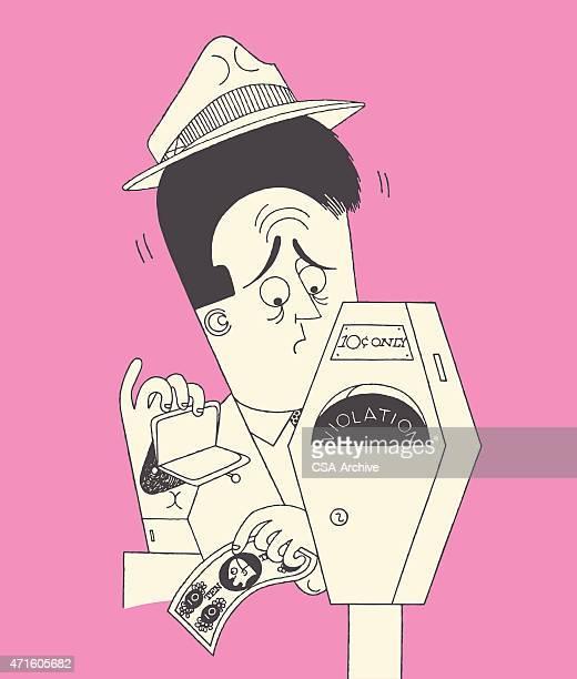 worried man at parking meter - parking meter stock illustrations