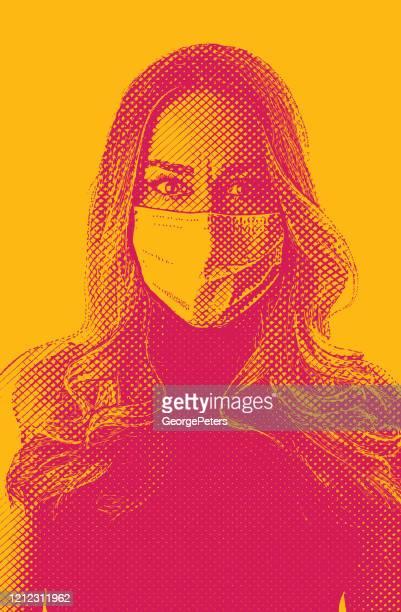 ilustrações, clipart, desenhos animados e ícones de mulher preocupada usando máscara facial protetora na esperança de evitar doença de coronavirus - female surgeon mask