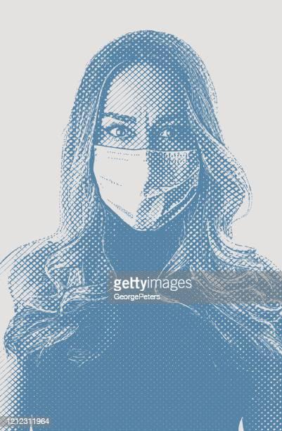 ilustraciones, imágenes clip art, dibujos animados e iconos de stock de mujer preocupada con mascarilla protectora con la esperanza de evitar la enfermedad del coronavirus - barbijo