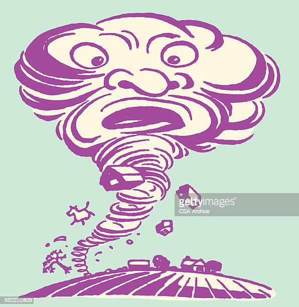 worried-looking tornado tearing up farm - grave stock illustrations, clip art, cartoons, & icons