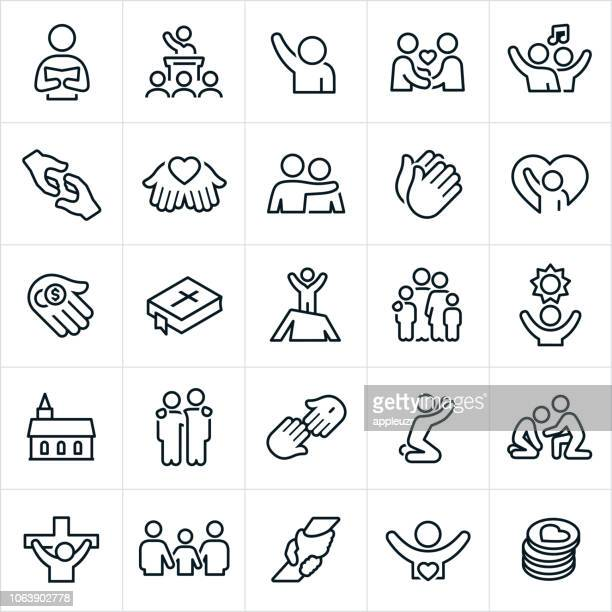 worship icons - church stock illustrations