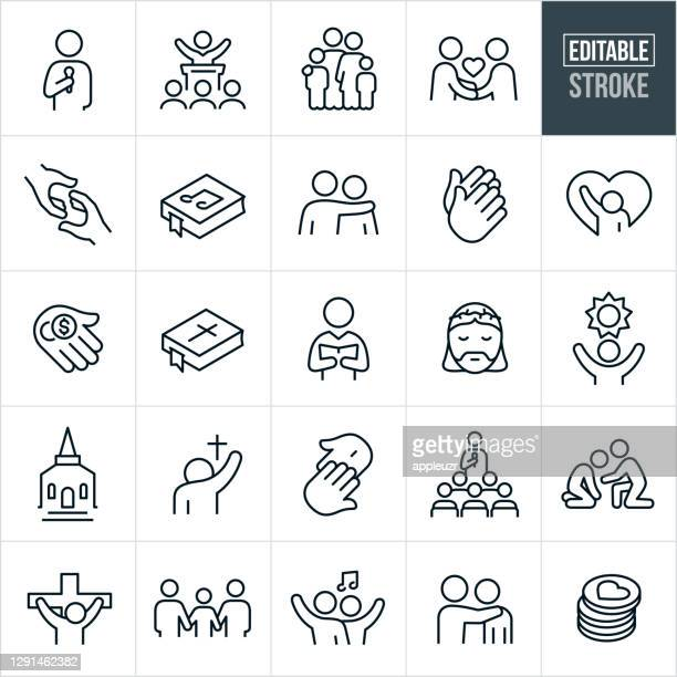 worship thin line icons - editable stroke - christianity stock illustrations