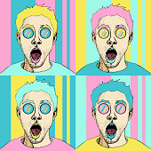 Wow pop art male face seamless pattern. Sexy surprised man with open mouth. Colorful vector background in pop art retro comic style.