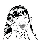 Wow screams cute girl black and white illustration