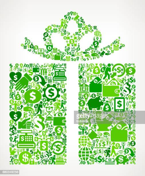 wrapped present money and finance green vector icon background - money tree stock illustrations, clip art, cartoons, & icons
