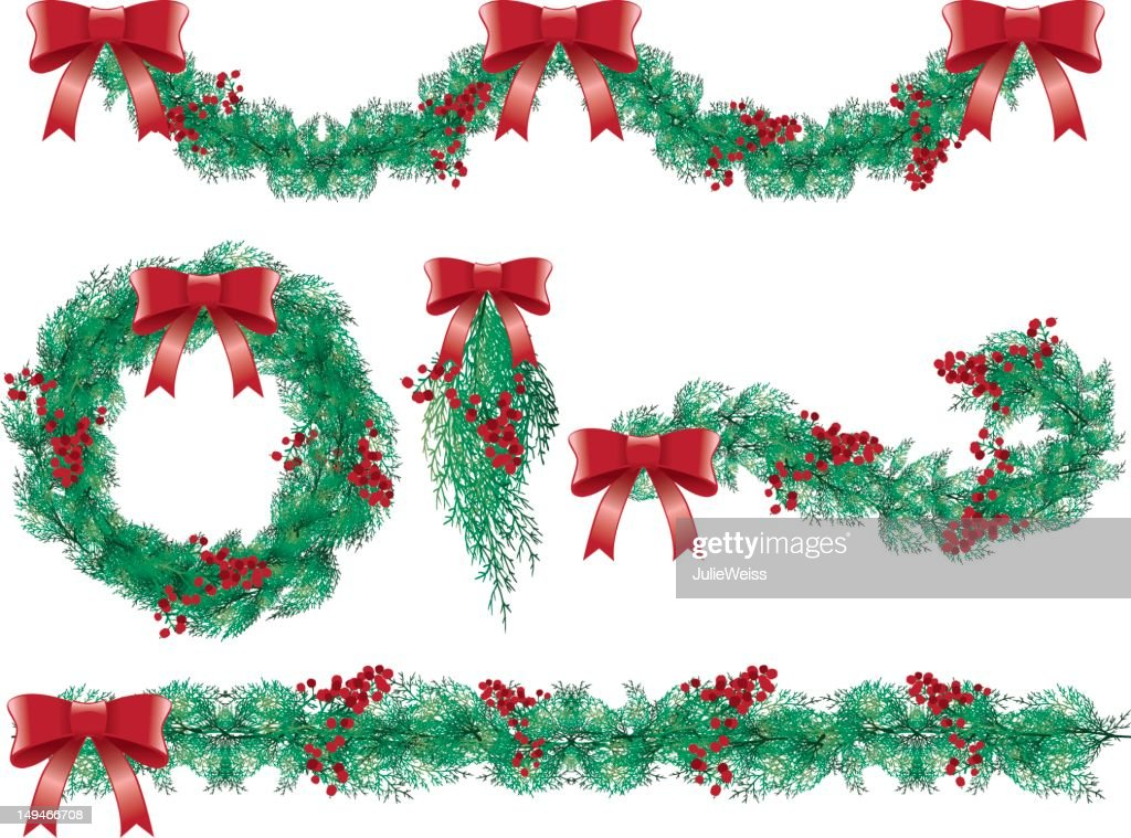 Wreath, Bow, & Garland Set : stock illustration
