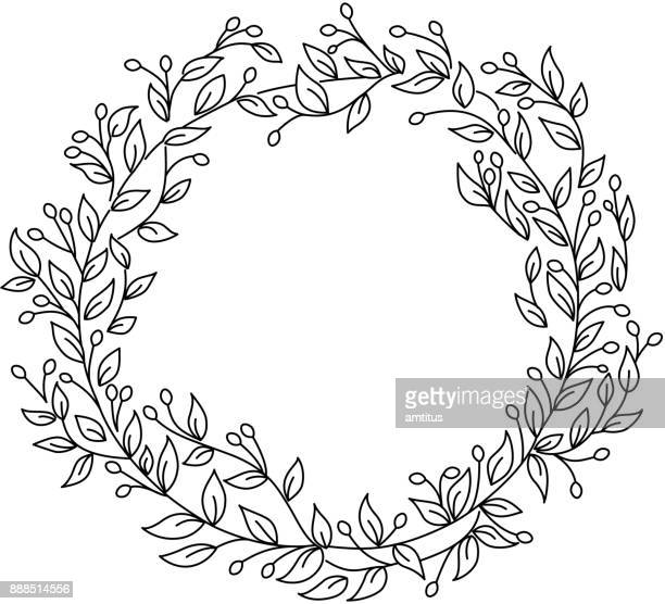 wreath floral - laurel wreath stock illustrations